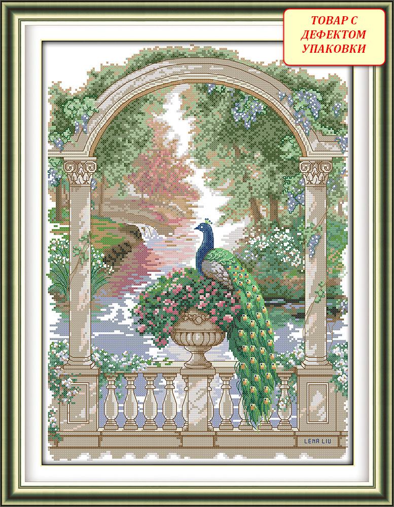 Набор для вышивания D 938 Уценка Зелёный павлин 36x48