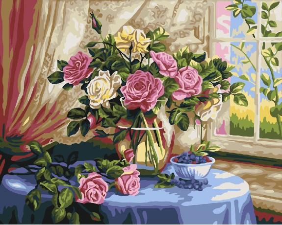Картина по номерам GX 22285 Розы и черника 40*50