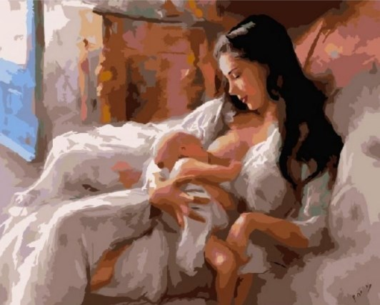 Картина по номерам GX 6402 Кормящая мать 40*50